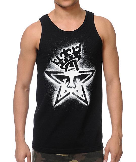 Obey Star Crown Stencil Black Tank Top