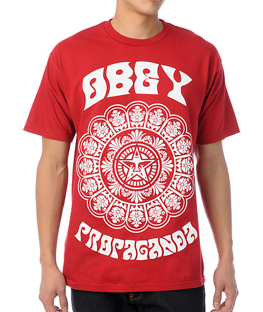 Obey Star Flower Red T-Shirt