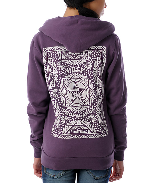 Obey Star Poster Heather Plum Hoodie