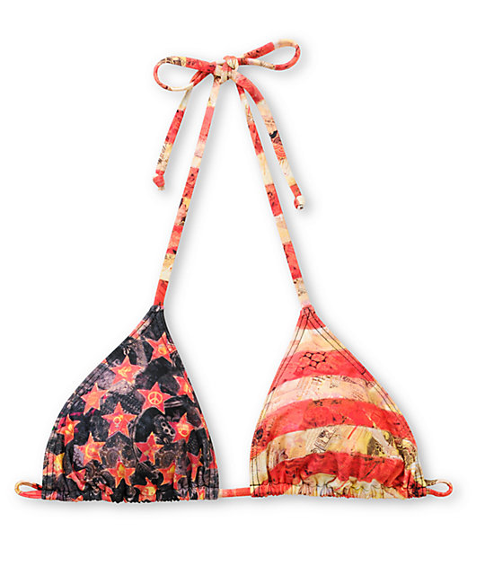 Obey Star Spangled Red Triangle Bikini Top