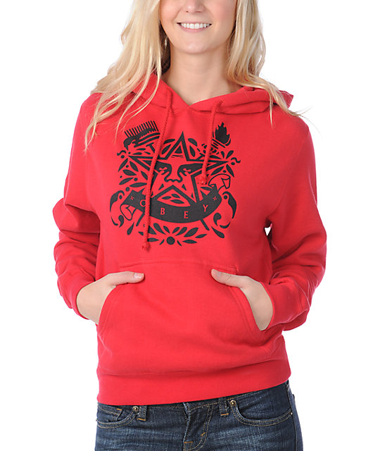 Obey Star Torch Red Pullover Hoodie