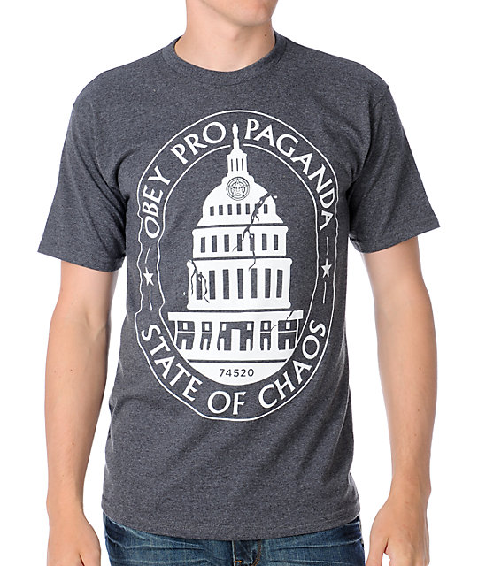 Obey State Of Chaos Heather Grey T-Shirt