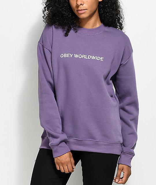 Obey Static Worldwide Purple Crew Neck Sweatshirt