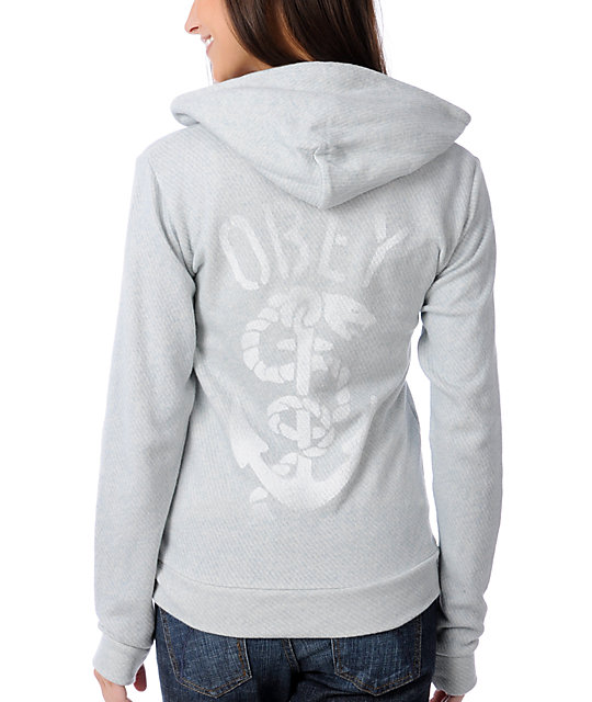Obey Stencil Anchor Light Blue Zip Up Hoodie