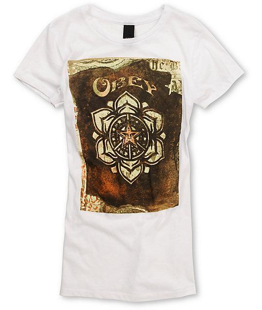 Obey Stencil Cross Dye White T-Shirt