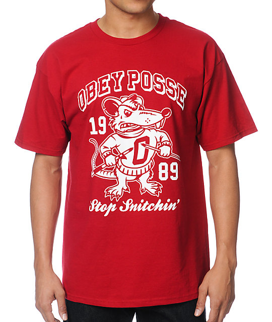 Obey Stop Snitchin Red T-Shirt