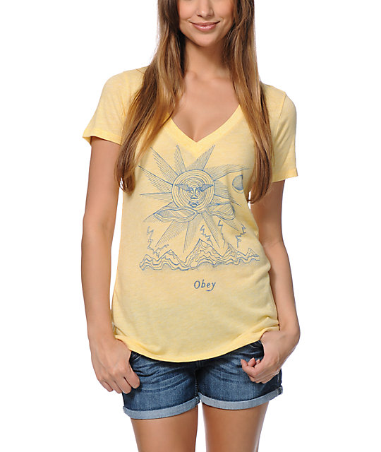 Obey Storm On The Horizon Yellow V Neck T Shirt