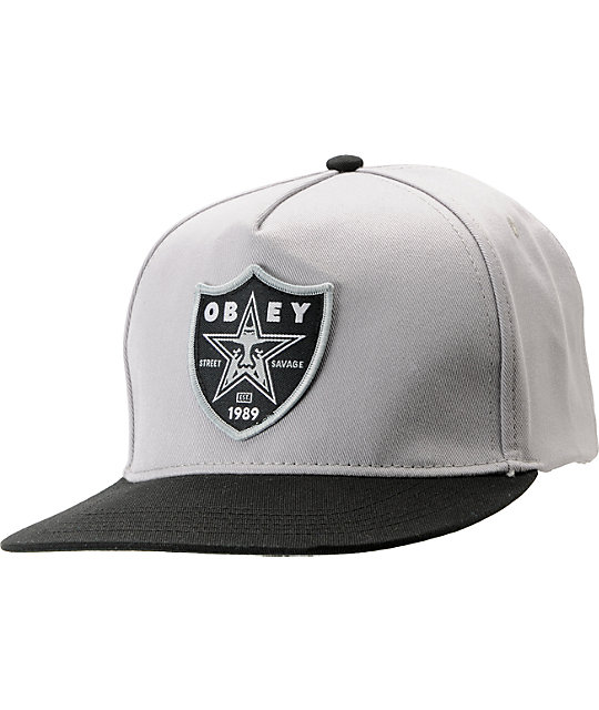 Obey Street Savage 2 Grey Snapback Hat