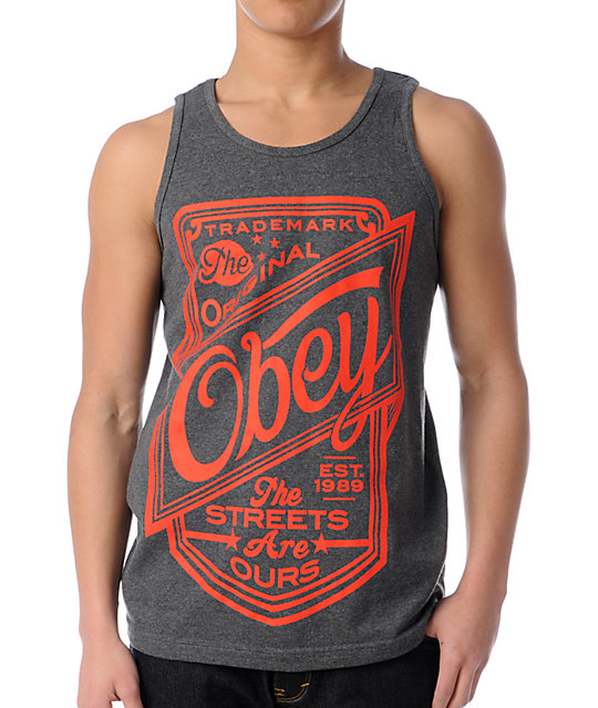 Obey Streets Are Ours Heather Charcoal Tank Top