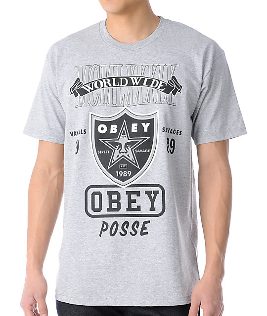 Obey Super Brawl Heather Grey T-Shirt