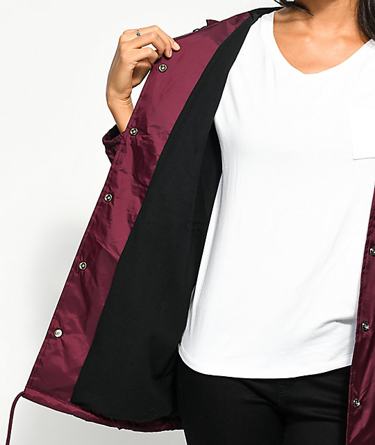 Obey Swirl Burgundy Hooded Coaches Jacket