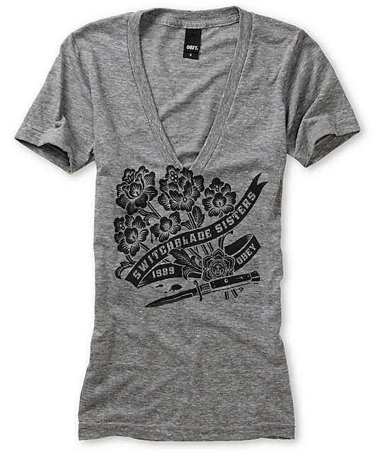 Obey Switchblade Sisters Grey V-Neck T-Shirt