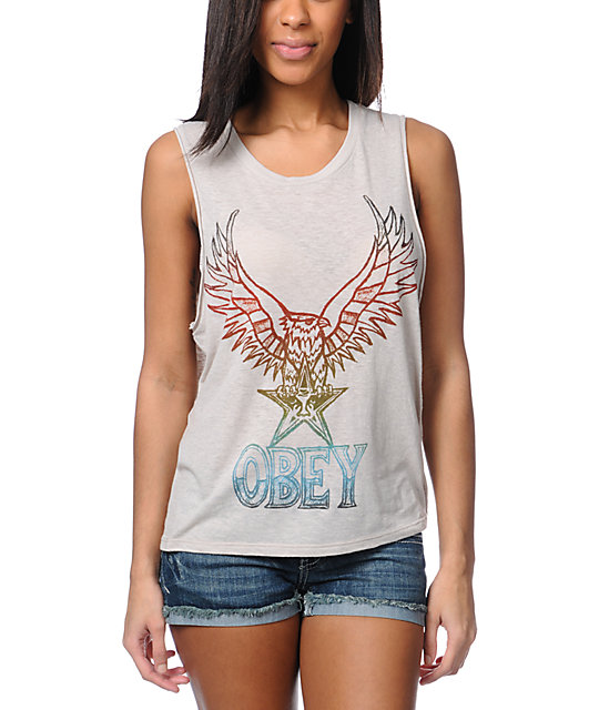Obey Take Flight Grey Felon Cut Off Tank Top