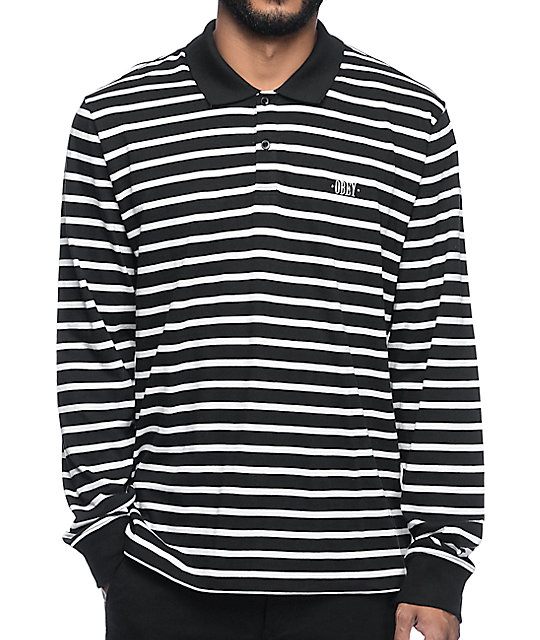 Obey Task Black & White Long Sleeve Polo T-Shirt | Zumiez