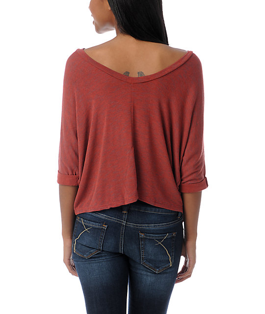 Obey Thayer Rust Red Dolman Top