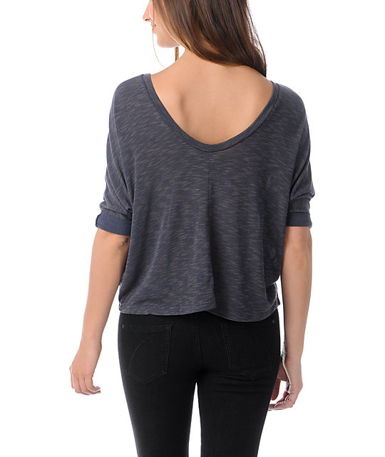 Obey Thayer Slate Grey Dolman Top