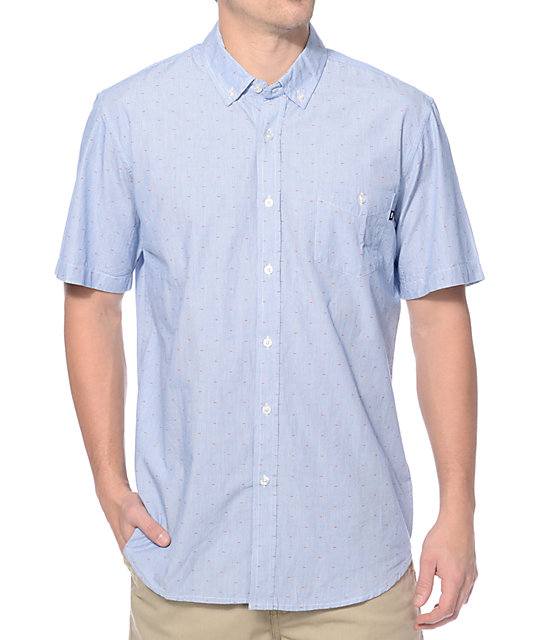 Obey the arden blue button up shirt for Blue button up work shirt