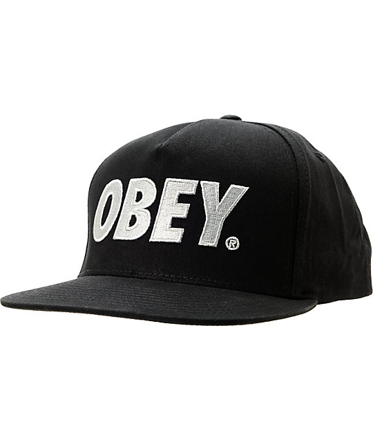 Obey The City Black Snapback Hat