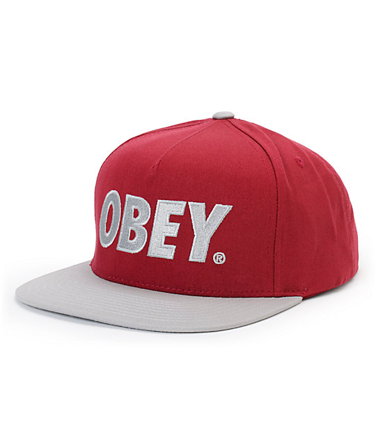 Obey The City Burgundy & Grey Snapback Hat