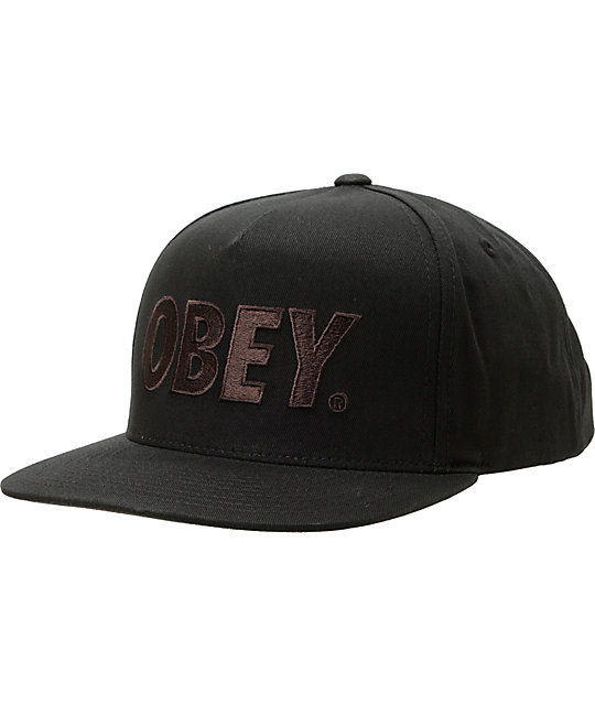 Obey The City Jet Black Snapback Hat