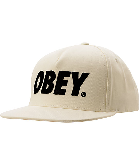 Obey The City White Snapback Hat