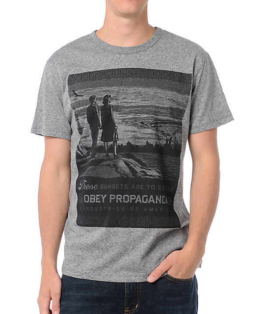 Obey These Sunsets Mock Twist Heather Grey T-Shirt