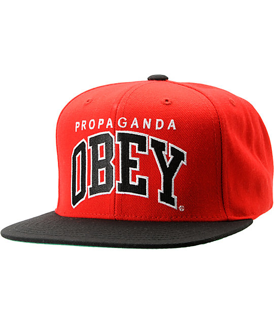 Obey Throwback Red & Black Snapback Hat