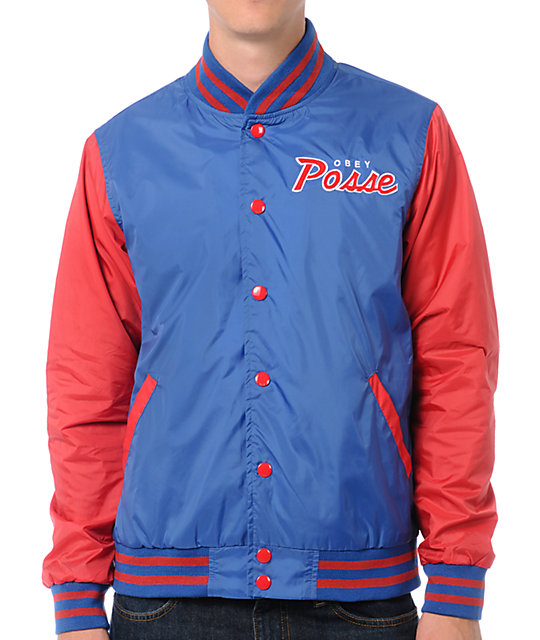 Obey Throwback Red & Blue Varsity Jacket