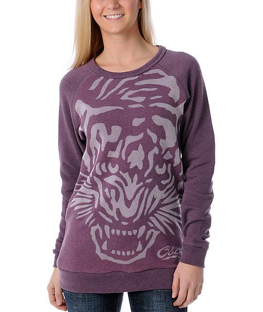 Obey Tiger Burn Purple Pullover Sweatshirt