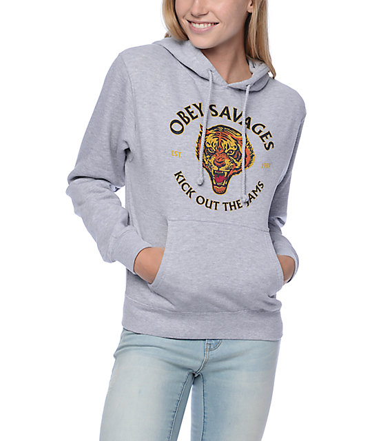 Obey Tiger Savages Grey Hoodie