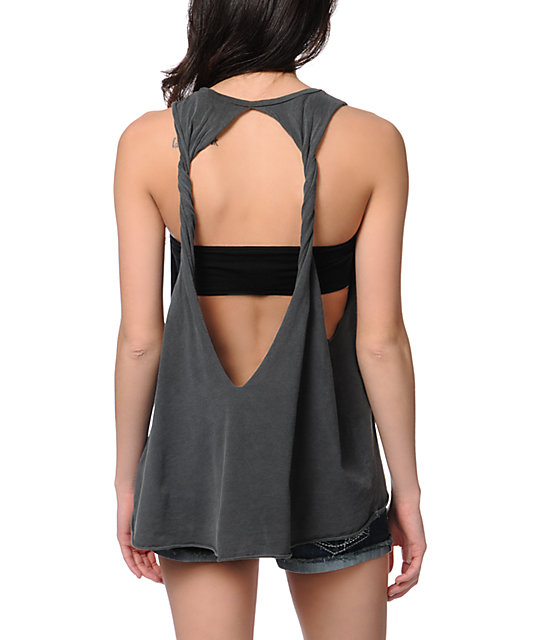 Obey To Rock And Not To Roll Charcoal Open Back Tank Top