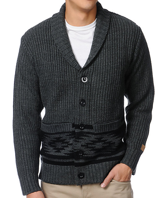 Obey Tok Charcoal Cardigan Sweater