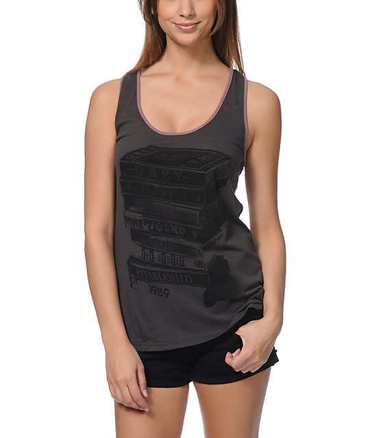 Obey Tower Of Tapes Charcoal Rookie Tank Top