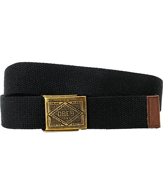 Obey Trademark Camp Black Web Belt