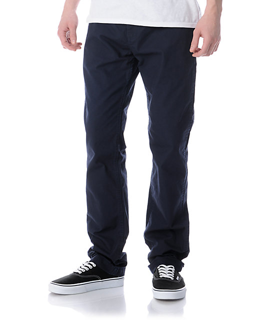 Obey Traveler Navy Blue Slim Fit Chino Pants
