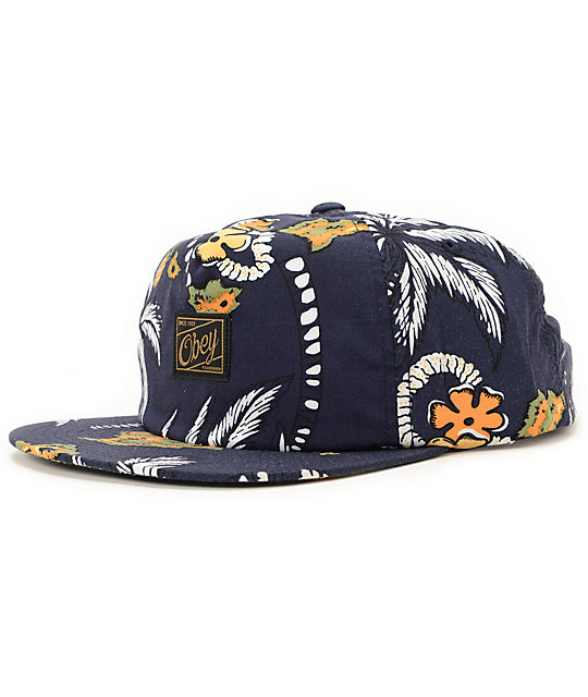 Obey Tropics Navy Snapback Hat