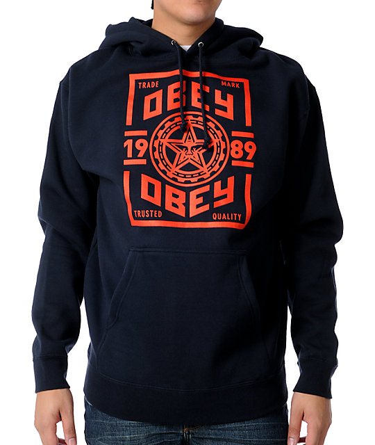 Obey Trusted Quality Navy Pullover Hoodie