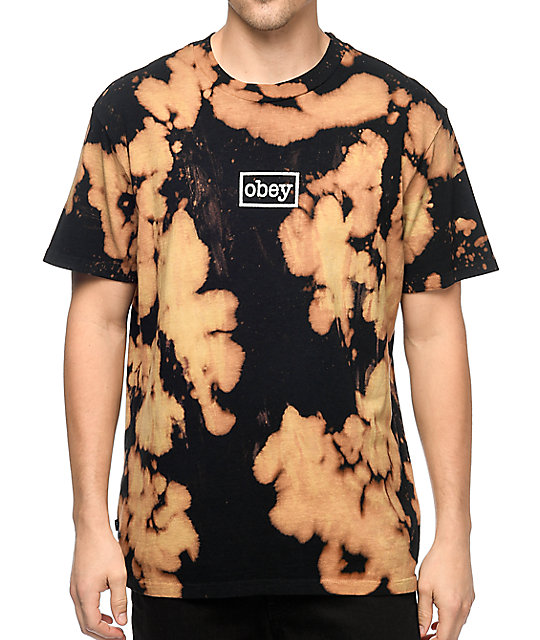Obey Typewriter Mag Black Bleach T-Shirt | Zumiez