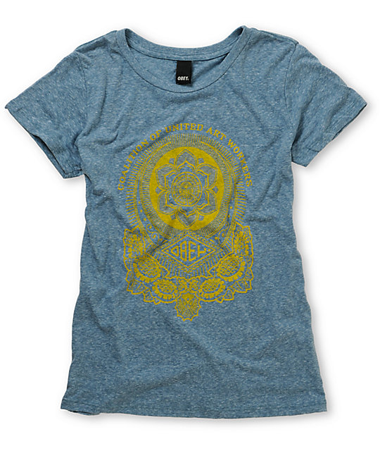 Obey United Art Workers Heather Blue T-Shirt