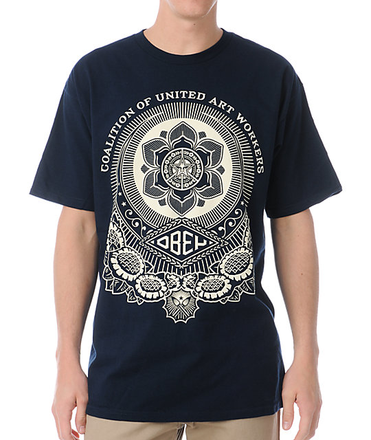 Obey United Art Workers Navy T-Shirt