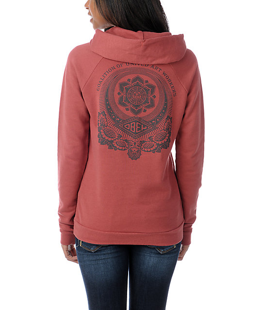 Obey United Art Workers Red Pullover Hoodie