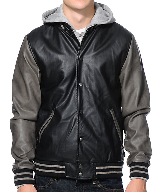 Obey Varsity Black & Grey Hooded Varsity Jacket