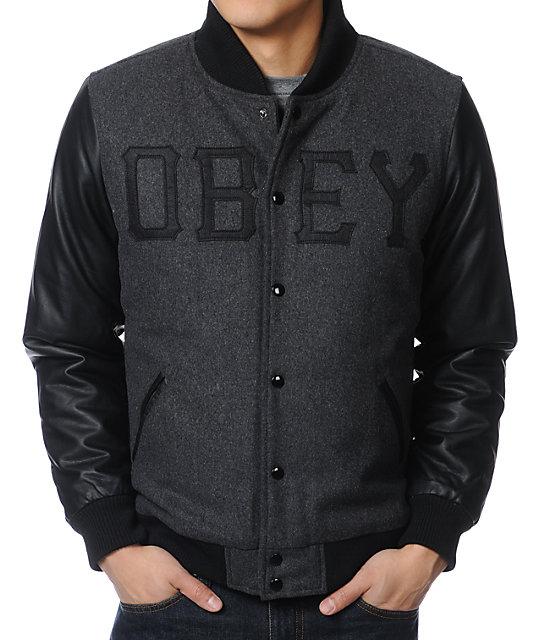 Obey Varsity Font Black Varsity Jacket