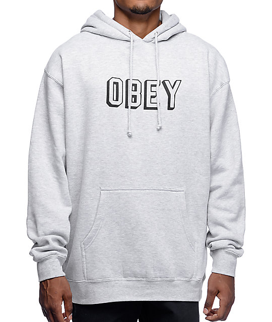 obey varsity heather grey pullover hoodie at zumiez pdp. Black Bedroom Furniture Sets. Home Design Ideas
