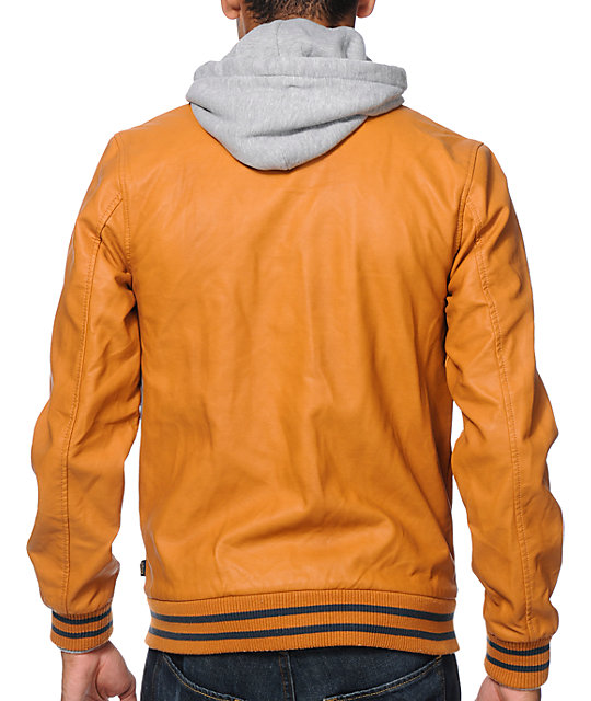 Obey Varsity Light Brown Hooded Jacket