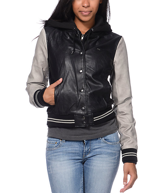 Obey Varsity Lover Black & Grey Faux Leather Jacket