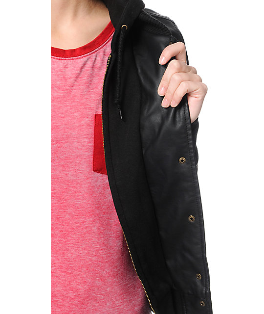 Obey Varsity Lover Black Faux Leather Jacket