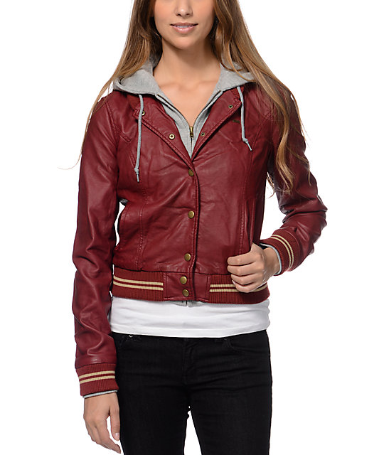Obey Varsity Lover Burgundy Hooded Faux Leather Jacket