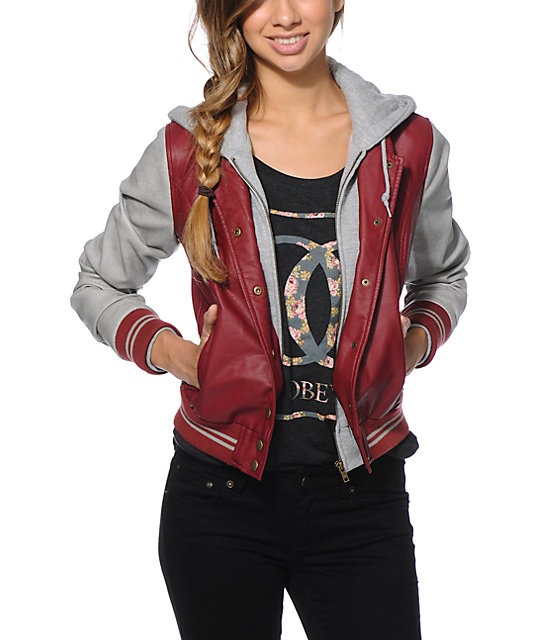 Obey varsity leather jacket