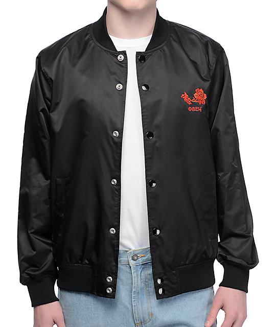 Obey Viktor Black Satin Bomber Jacket